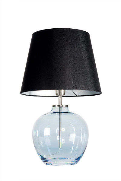 Mundgeblasene Tischlampe Circle 55 cm Fuß Blue /Edelstahl, Schirm Schwarz / Innen silber
