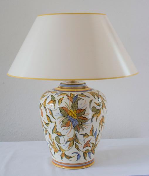 Tischlampe Raffaello mit cremeweissem Strichlackschirm 46 cm