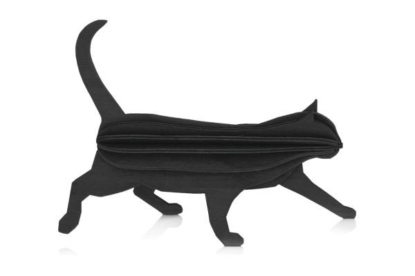 3d-Katze 12 cm holz postkarte, schwarz