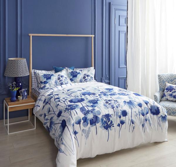 bluebellgray makosatin bettwäsche Corran blauweiß