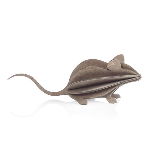 3D Maus 15 cm Holz, Postkarte