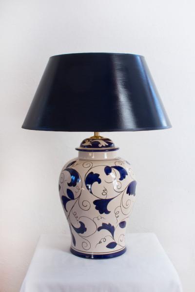 Dunkelblau creme Tischlampe Cortona 54cm, handgemalt mit nachtblauem Strichlackschirm