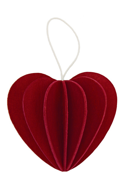 Herzaufhänger dunkelrot Holz 3 D Postkarte