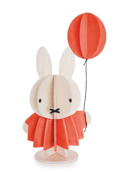 Miffy Hasenmädchen mit Luftballon, 3D-Figur Birkenholz von Lovi, DIY