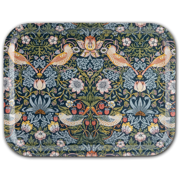 Åry Trays Tablett Strawberry Theif  von William Morris 36 x 28 cm, Birkenholz