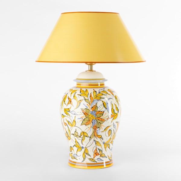 Tischlampe Raffaello Potpourri mit gelbem Strichlackschirm 53 cm