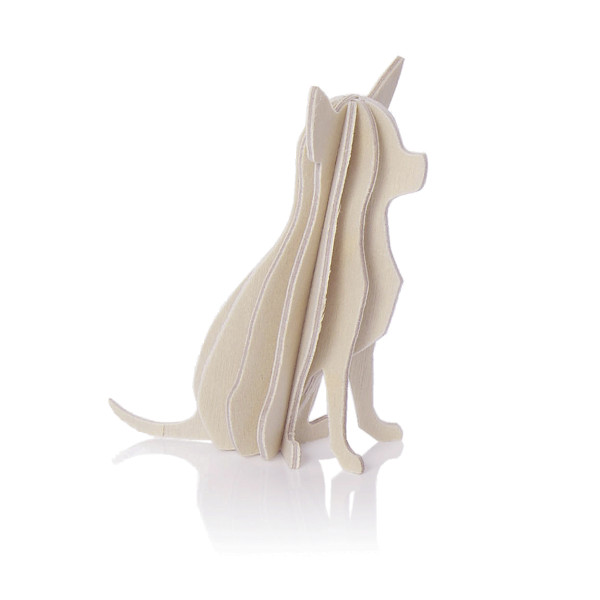 Lovi  3D Hund als Aufsteller 6 cm Birkenholz natur