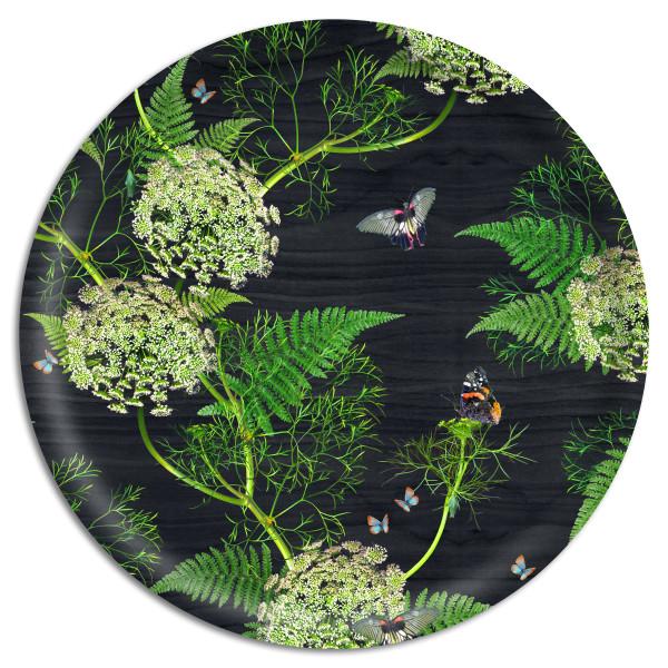 Åry Trays Tablett Dill Black Wood 49 cm, rund, Birkenholz