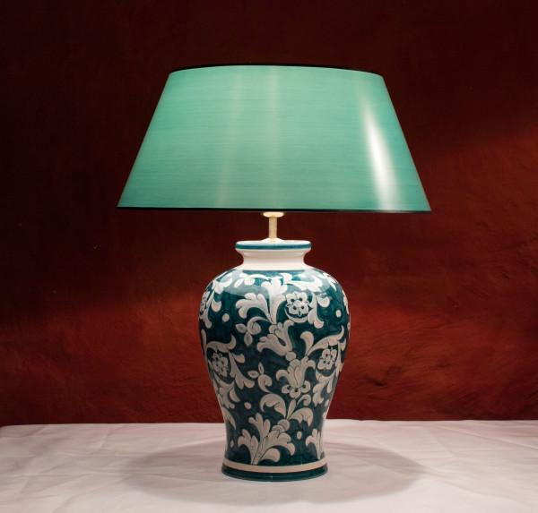 handgemalte pfauengrüne Tischlampe 58cm