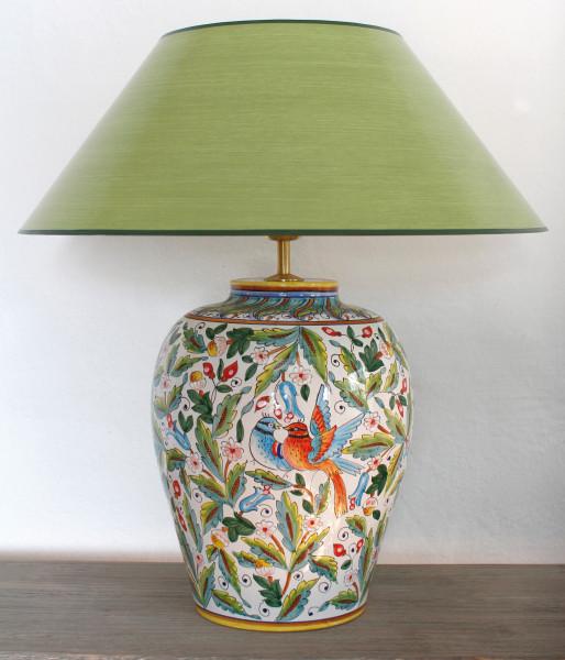 italienische tischlampe mit v geln und bl ten 52cm ambiarte. Black Bedroom Furniture Sets. Home Design Ideas
