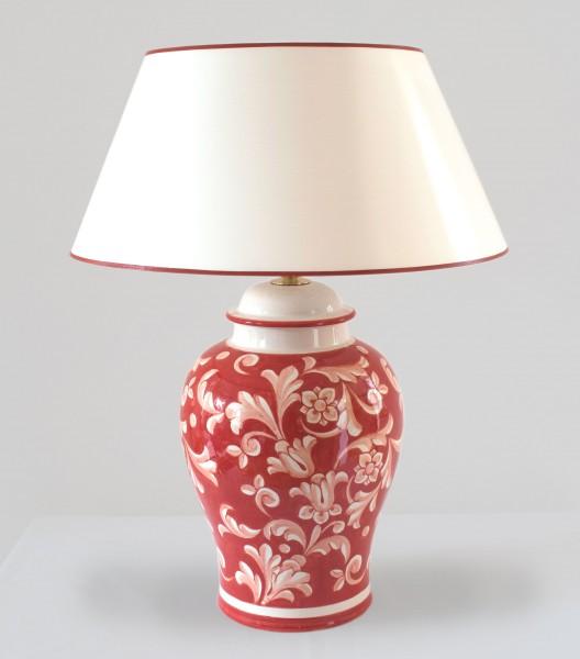 Tischlampe Deruta Rosso Potpourri mit Strichlackschirm verschiedene Größen