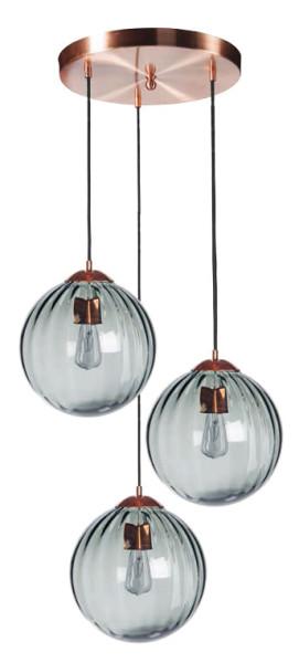 Abmessungen Mundgeblasene 3er-Pendelleuchte Vague, kuglform graues Glas mit Metallelementen aus Kupfer