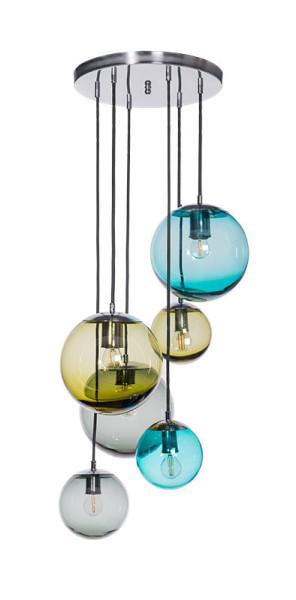 Mundgeblasene Pendelleuchte Balle, 6er-Pendel Glas Farbmix / Metallelemente Edelstahl