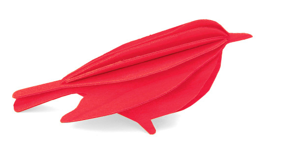 Lovi  3D Vogel als Aufsteller8 cm Birkenholz rot