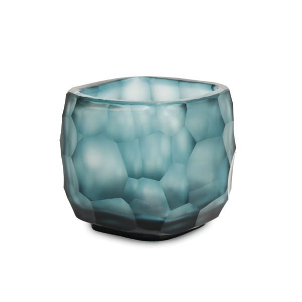 Exklusives mundgeblasemes und handgeschliffenes Glasteelicht von Guaxs in der Farbkombination clear-petrol 8 cm