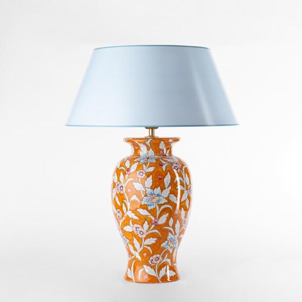 Handgemalte Tischlampe aus Italien in klassischer Vasenform, floral,  orange zartblau