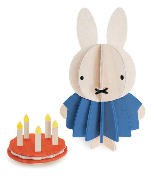 Miffy Hasenmädchen mit Geburtstags-Kuchen, 3D-Figur Birkenholz von Lovi, DIY