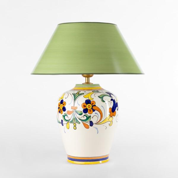 Tischlampe Spello mit grünem Strichlackschirm