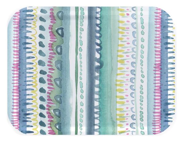 Tablett Nina von Bluebellgray, 43 x 33 cm, rechteckig, Birkenholz, bunte Streifen, Punkte