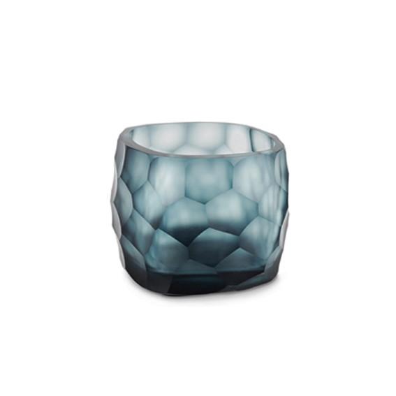 Exklusives mundgeblasemes und handgeschliffenes Glasteelicht von Guaxs in der Farbkombination oceanblue-indigo