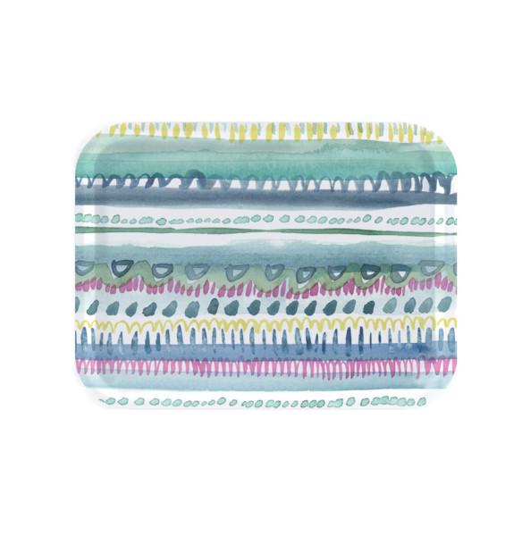 bluebellgray Tablett Nina 27 x 20 cm, rund, Birkenholz, bunte Streifen, Punkte