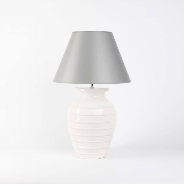 Handgefertigte Keramik-Tischlampe antikweiß