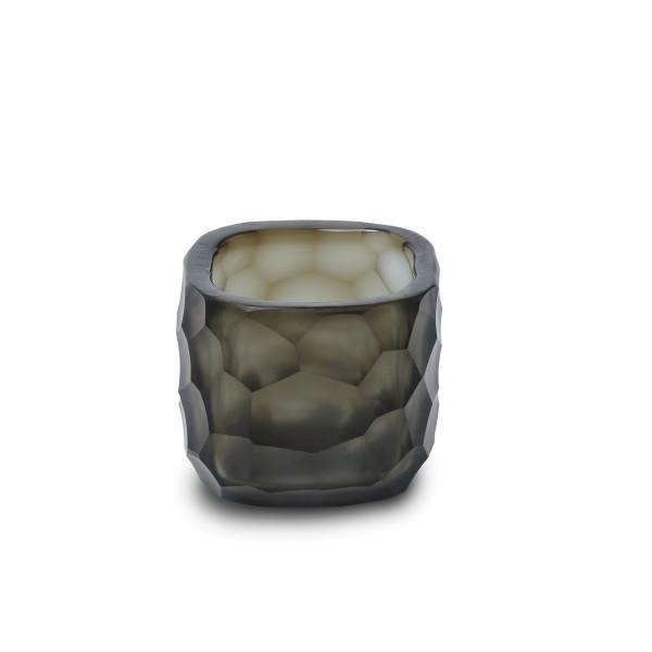Exklusives mundgeblasemes und handgeschliffenes Glasteelicht von Guaxs in der Farbkombination lindigo-smokegrey