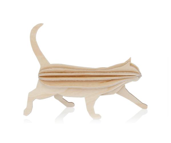 3d-Katze 12 cm holz postkarte, natur