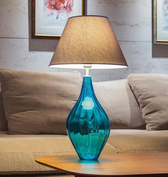 Hohe Mundgeblasene Glas-Tischlampe Baisse 72 cm Türkis / Edelstahl / Schirm Sand / Innen weiß